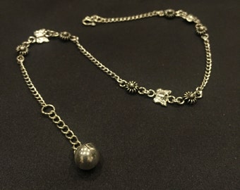 Silver Anklet, Silver Flowers nd Butterfly Anklet, Sterling Silver Anklet, Silver Anklet Chain, (AS 36)