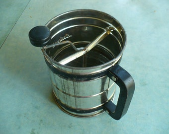 Vintage Androck Flour Sifter, 3-screen, rotary, black band and handle