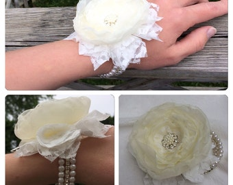 Wrist corsage flower shabby chic wedding bracelet offwhite flower beaded bracelet