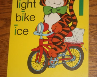 Large Vintage Phonics Flashcard - Long I - Tiger - Yellow Poster - Learning Tool