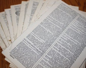 50 Vintage Dictionary Pages - Paper Ephemera Pack