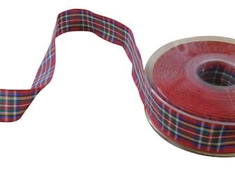 Royal Stewart Scottish Tartan Red Blue Green Yellow White Reversible Ribbon 25mm *4 Lengths*