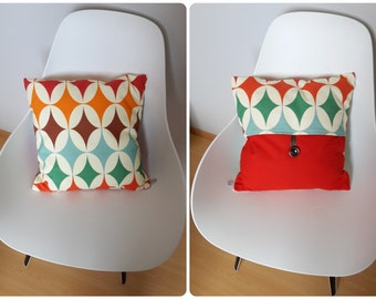 Orange and Red geometric patterned Cushion cover