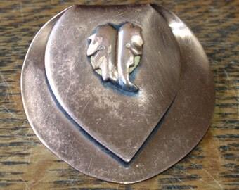 Art Deco Copper Leaf Brooch