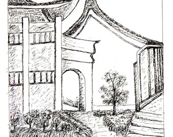 At the Corner of a Temple original pen & ink drawing by Miao Yeh, 12x10, landscape, portion of proceed supports Parkinson's reserach.