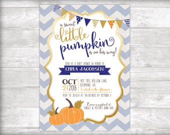 A Sweet Little Pumpkin Baby Shower Invitation Printable