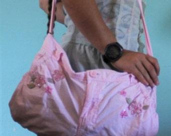Handmade Pink Flower Purse/ Bag/ Tote
