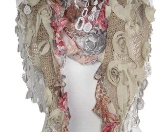 Stunning mocha floral triangle scarf shawl wrap silk blend, vintage lace tassels great for weddings, special occasions, races etc