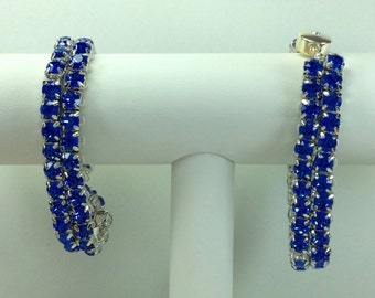 Sapphire Glitterati Bracelet - Swarovski Crystals, Magnetic Clasp, Silver