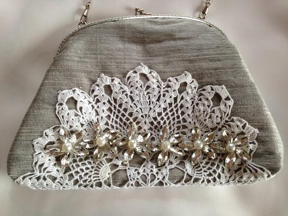 Special occasion handbag clutch bag purse in silver silk