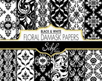 60% OFF SALE, Digital Floral Damask Wedding Paper, White and Black Damask Digital Paper, Floral Damask Crafts, Wedding Damask Scrapbooking