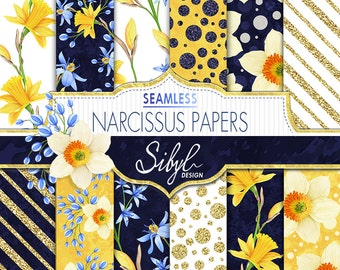 60% SALE, Floral Digital Papers, Handdrawn Floral Seamless Pattern, Narcissus Flowers Pattern, Digital Spring Flowers, Squill Flower Paper