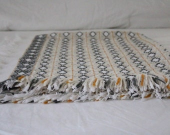 Swedish Weaving Afghan Throw, Heirloom, Baby Blanket, Monks Cloth Afghan, Huck Embroidery, Baby Blanket,  Hand Embroidery,