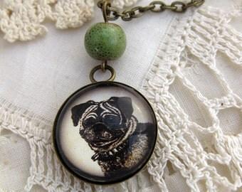 Pug pendant necklace