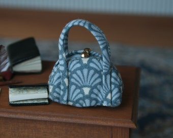 dollhouse miniatures blue fan handbag, miniature purse, openable, 1:12 scale