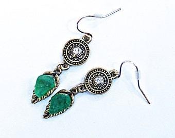 Seaglass earrings «Bronze and Seaglass»