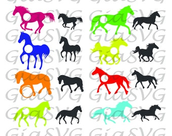 Horses Monogram SVG, horse silhouettes svg, ready to cut files for Cricut | Silhouette etc, also in png, eps and DXF