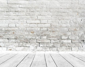 PHOTOGRAPHY Backdrop Wallpaper Prop Grey Brick Wood Floor (150CM x 200CM)