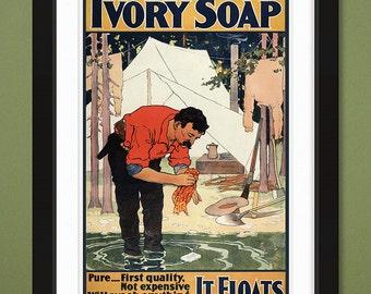 Vintage Advertising – Ivory Soap – It Floats (12x18 Heavyweight Art Print)