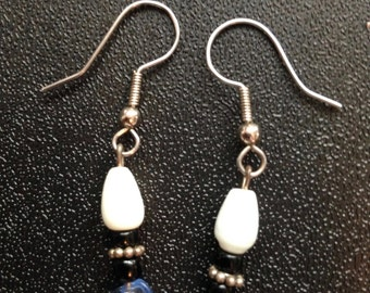 Handmade Dangling earrings Blue, Black, white and silver colors
