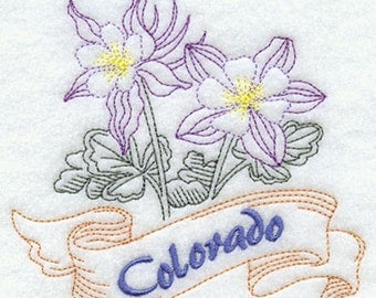 Colorado State Flower Columbine Embroidered on a Flour Sack Towel
