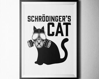 Schrödinger's Cat Print, poster, wall art, decoration, minimal, art print, fineart prints, quote, black&white poster,  schrödinger paradox