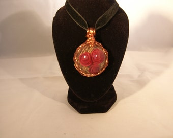 Wire wrapped resin pendant and velvet choker
