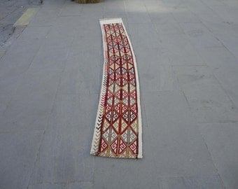 Turkish vintage mini hallway runner rug,crooked rug,embroieded rug,73 x 11 inches