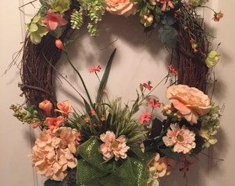 Apricot Rose Wreath