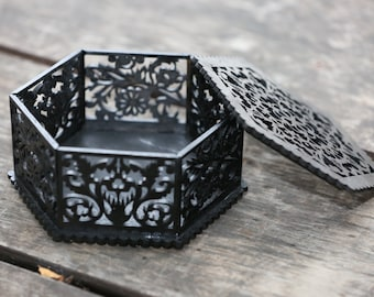 Wooden hexagon box with flowers (black color) - a wonderful gift for special person.  Free shipping.