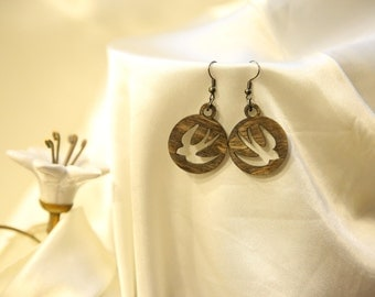 Wooden jewelry set - birds. Gift for women. Free shipping.
