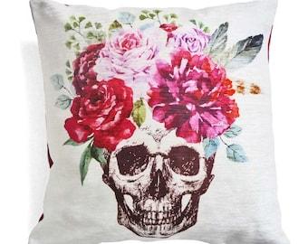 Floral Skull Cushion