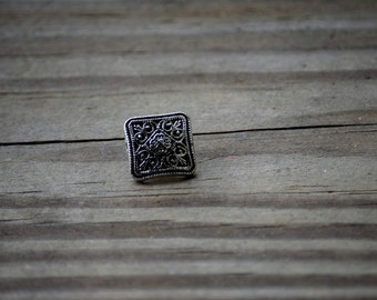 3 pcs Square Silver Buttons
