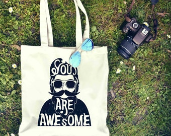 Be Awesome Beard Typography Tote Bag | Shopping Bag | Reusable Market Bag | Birthday Gift For Her & Him | Shopper Bag | Beach Grocery Bag