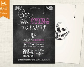 Adult Halloween Invitation, Halloween Invites, Halloween Invitation, Halloween Party Invites, Halloween Party Invitations, Dying to Party