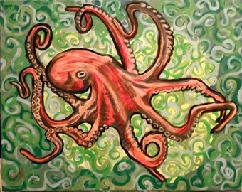 Octopus 16x20 acrylic on canvas