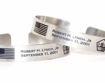 9/11 Memorial Bracelet / September 11 / Never Forget / FDNY / FireFighter Memorial Bracelet / Fire Dept / Honoring 9/11 / In Loving Memory