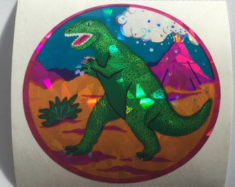 Large Vintage Prismatic Dinosaur Sticker