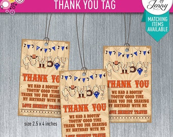 COWBOY / RODEO thank you tag/sticker - Made to order