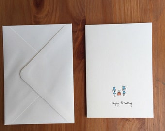 Blue and Orange Present Birthday Card