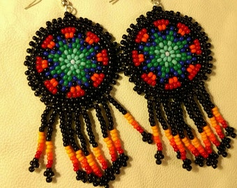 Short Medallion Earrings, Authentic Native American Seed Beed Dangle Earrings