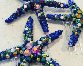 Handmade Rhinestone Encrusted Starfish Hair Comb in Blue