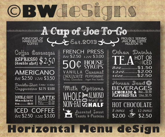 Custom HORIZONTAL MENU Board Coffee Shop Sign Restaurant