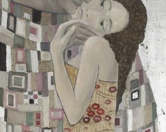 Kiss,Inspired by Klimt,Klimt style,Portrait,Man and Woman,Oil Painting,Digital print,romantic  print,