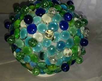 Handmade glass gazing ball