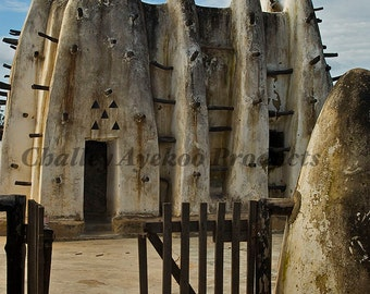 Photograph of a Mud Mosque in Northern Ghana, Africa. African scenes, Fine Art Print, Photography, Wall Decor