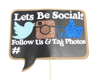 Photo Booth Props -  1PC Lets Be Social Chalkboard Sign Photo Booth Props