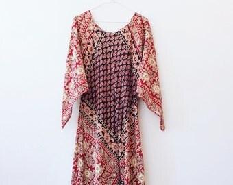 Vintage indian cotton hippie maxi dress S/M