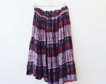 Vintage indian cotton hippie skirt M/L