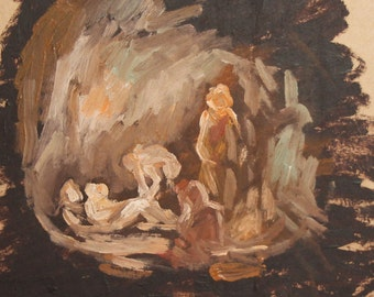 Vintage oil painting abstract figures
